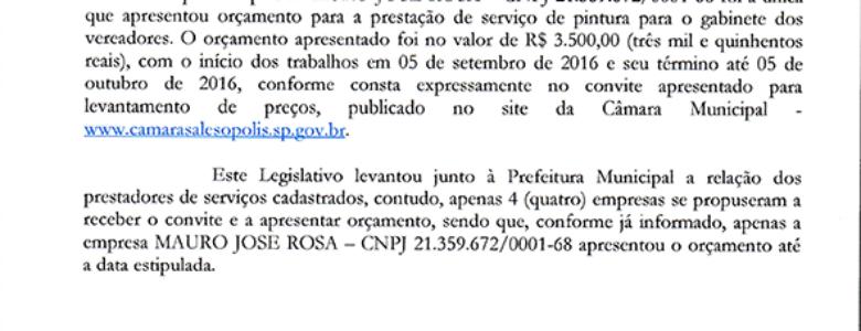 Dispensa de Licitação – Pintura do Gabinete dos Vereadores