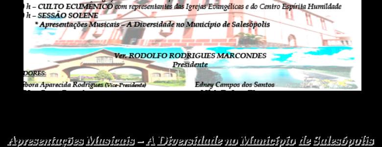 Sessão Solene em Comemoração aos 179 anos de Fundação e 160 anos de Emancipação Política-Administrativa de Salesólopis