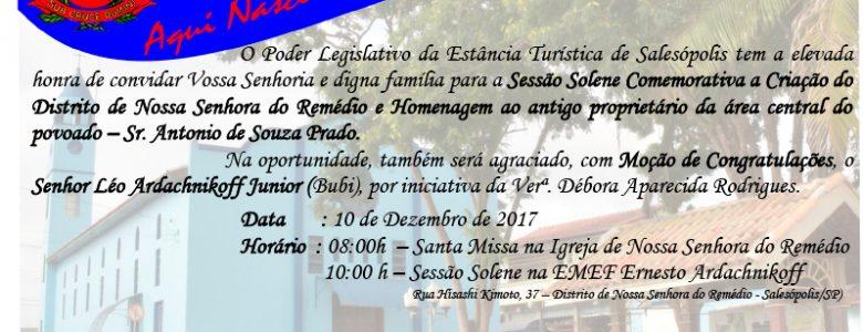 Sessão Solene Comemorativa a Criação do Distrito de Nossa Senhora do Remédio